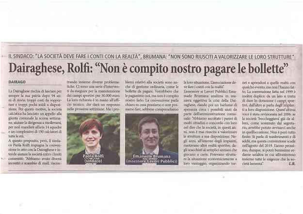 ARTICOLO ROLFI DAIRAGHESE